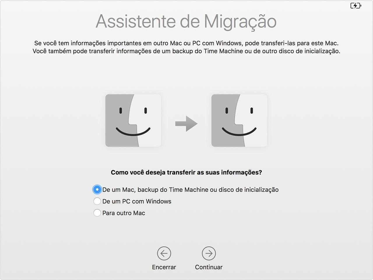 Assistente de Migração do macOS