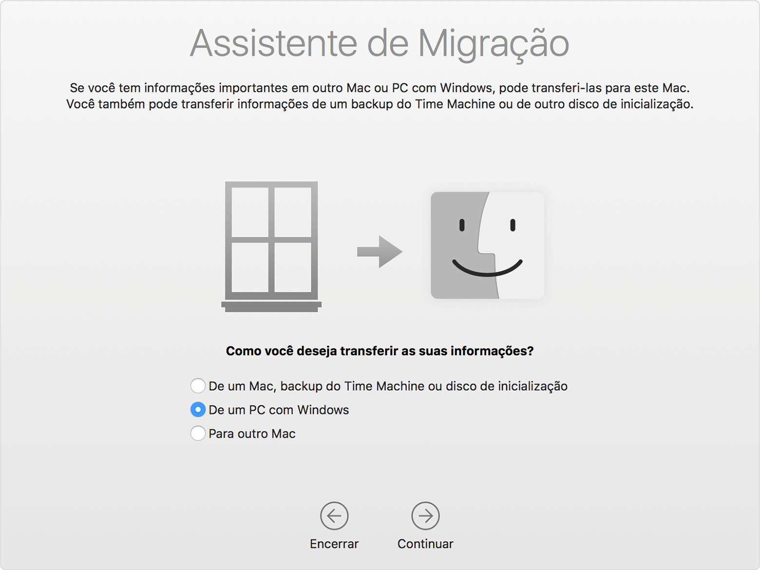 Assistente de Migração do Windows