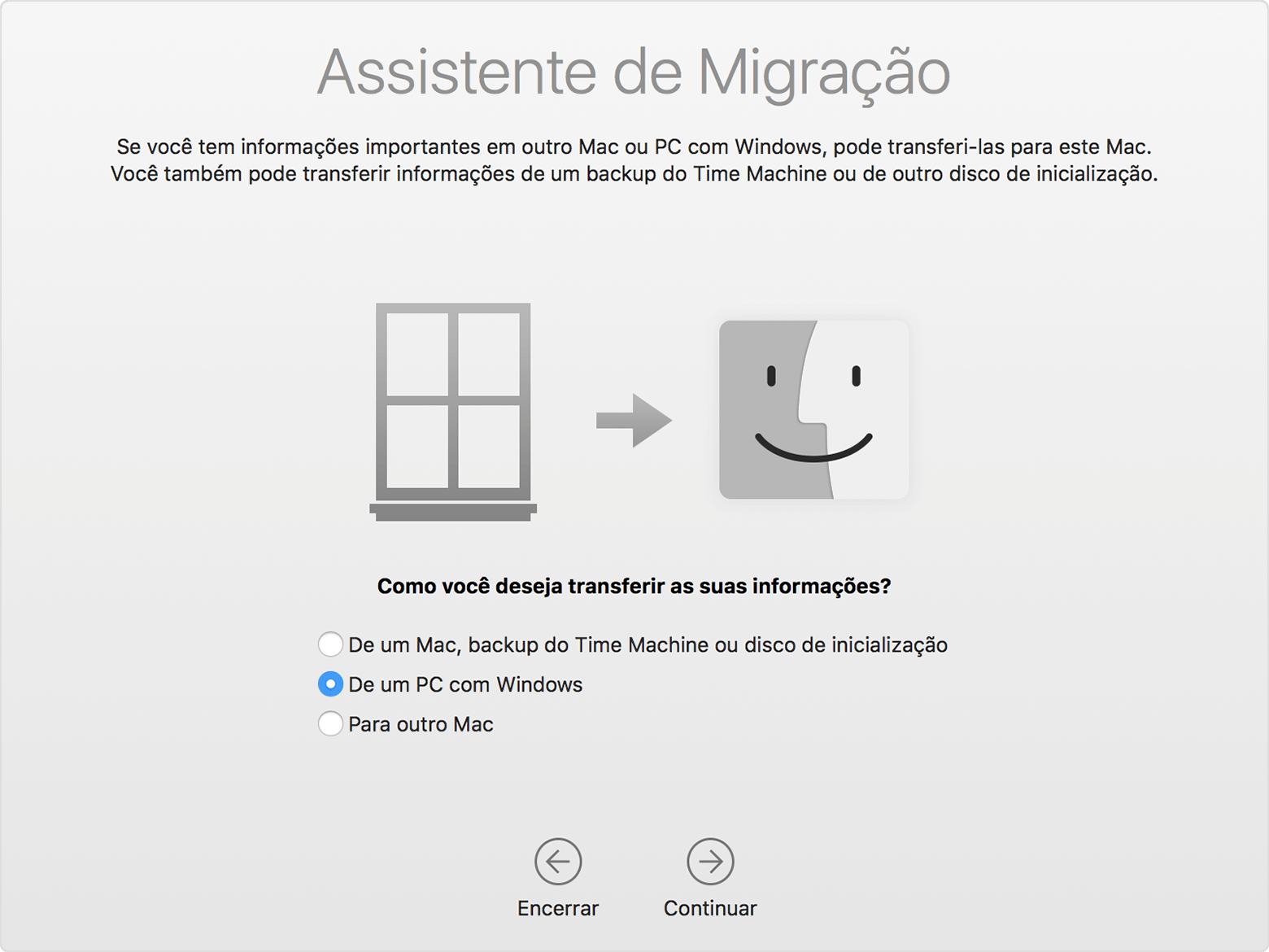 Assistente de Migração do Windows