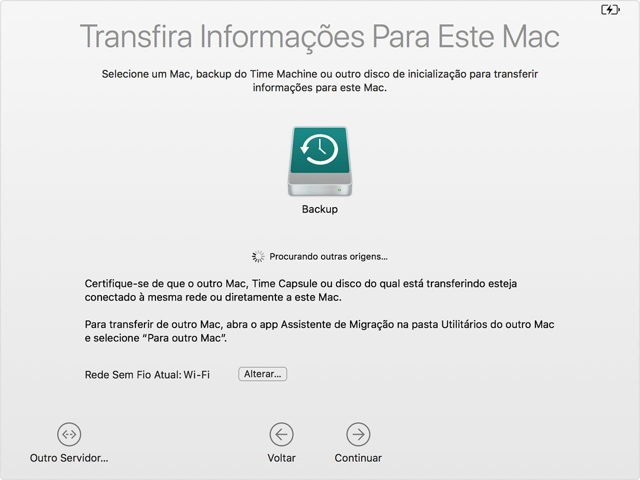 Assistente de Migração do macOS: backup