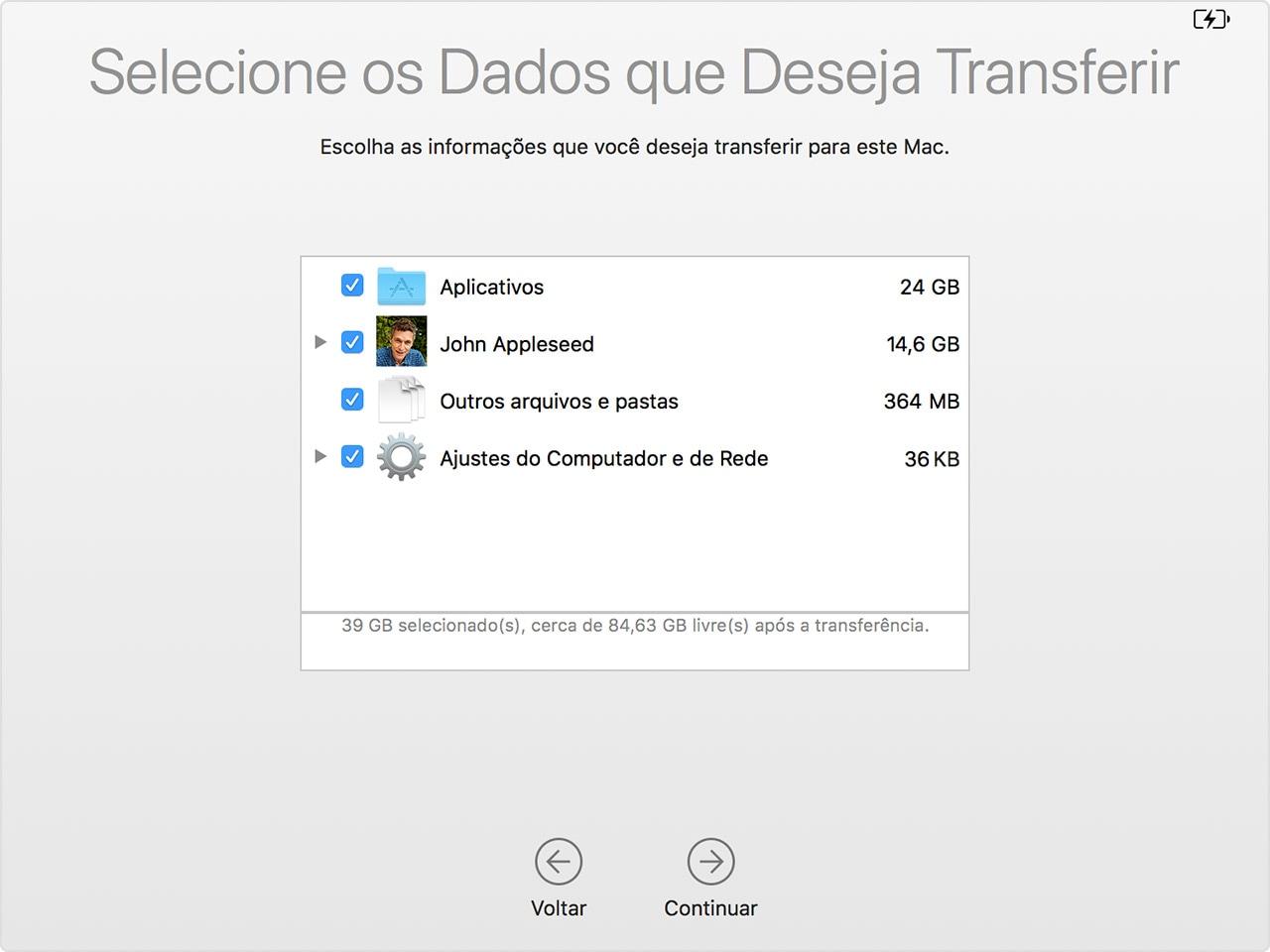 Assistente de Migração do macOS: dados
