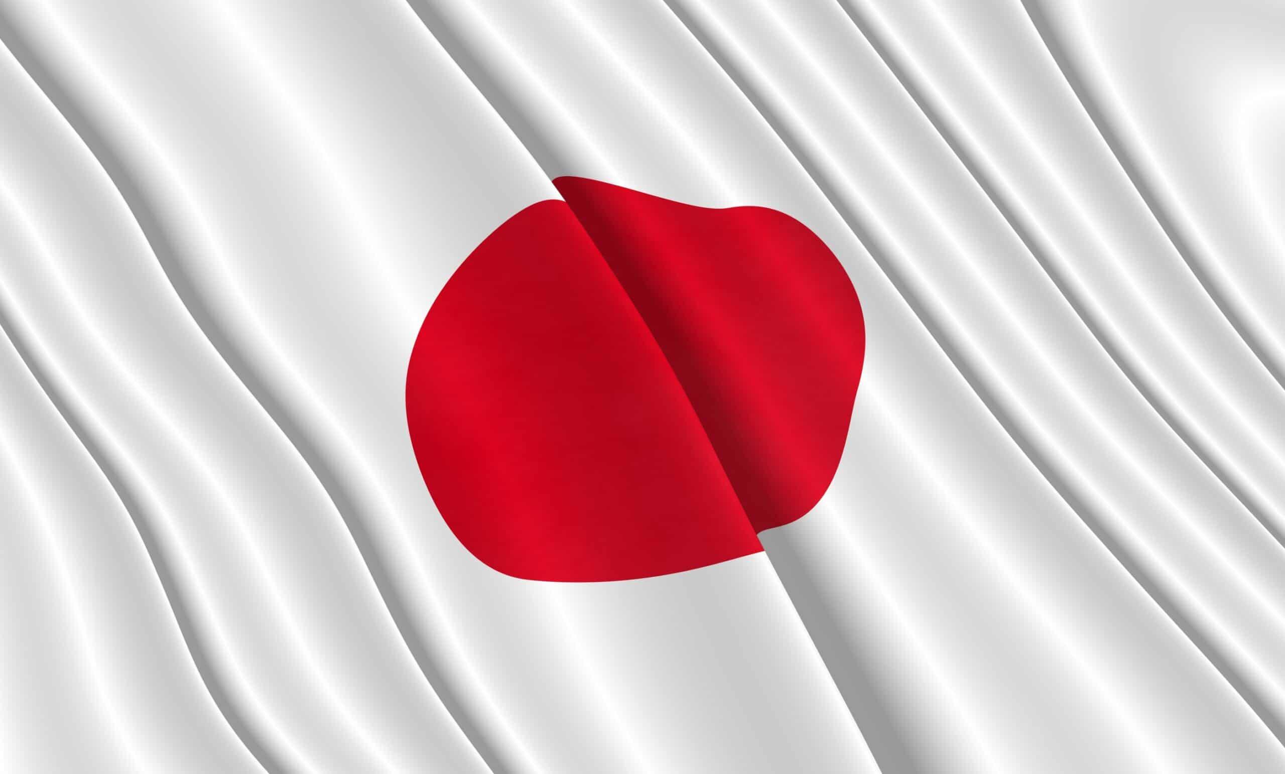 Bandeira do Japão meio dobrada