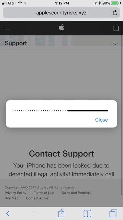 Screenshot da falsa página do suporte da Apple
