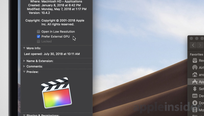 Opção de acelerar por eGPU por App no macOS Mojave