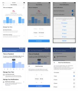 Recurso de gerenciamento de uso no Facebook e Instagram