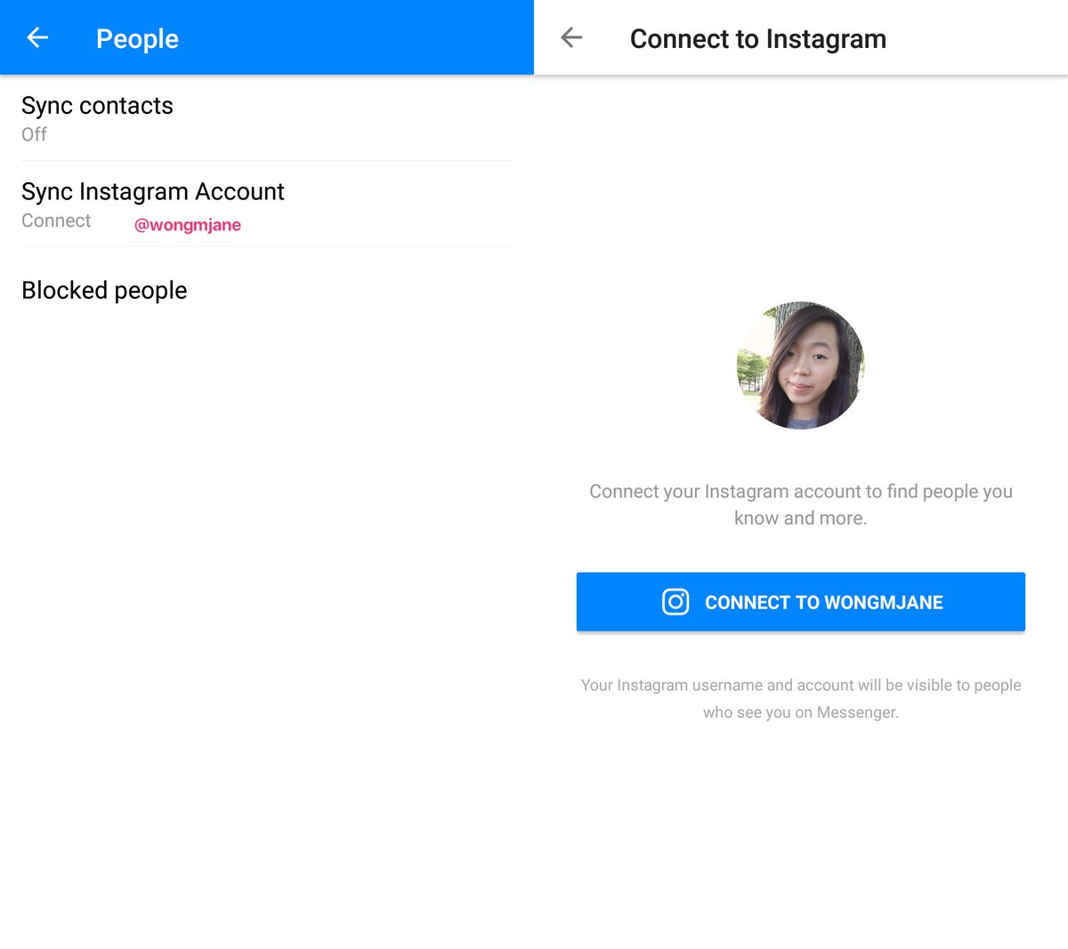 Recurso para sincronizar usuários do Instagram com o Facebook Messenger