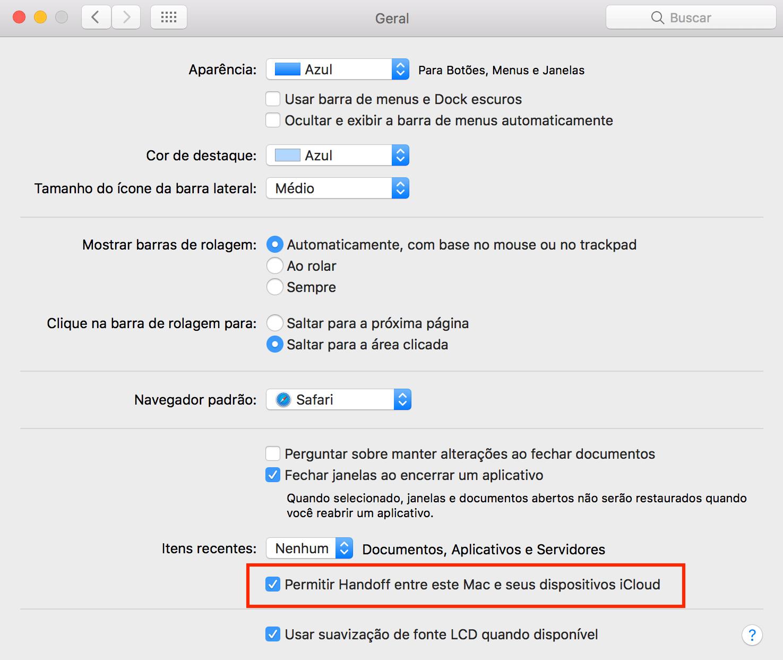 Ativando o Handoff no Mac