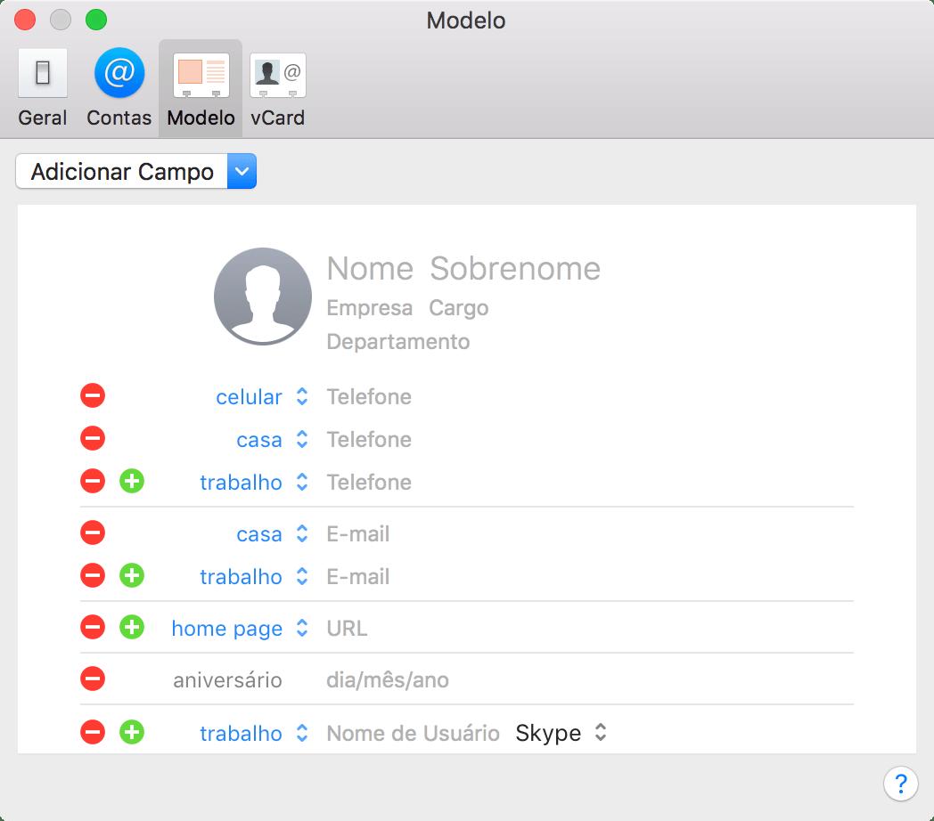 Personalizando o cartão padrão do app Contatos para macOS