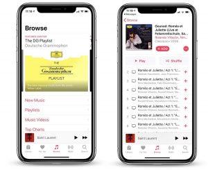 Seção do Apple Music dedicado à música clássica