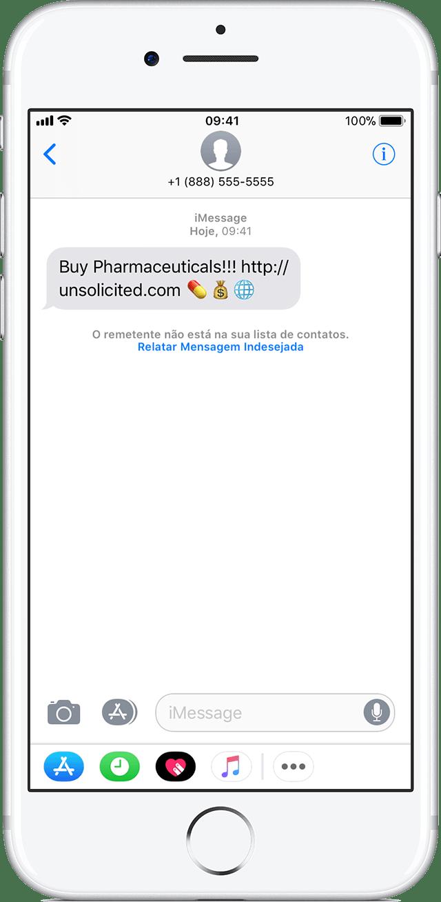 iOS: denunciando mensagem indesejada