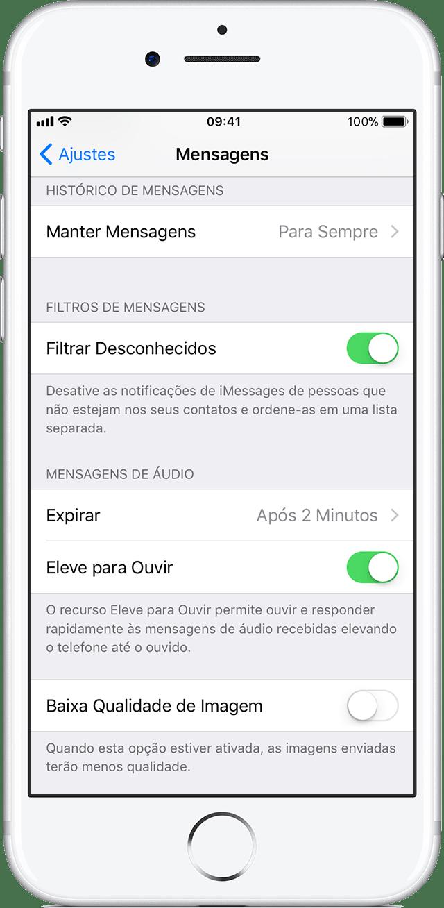 iOS: ativando opção Filtrar Mensagens