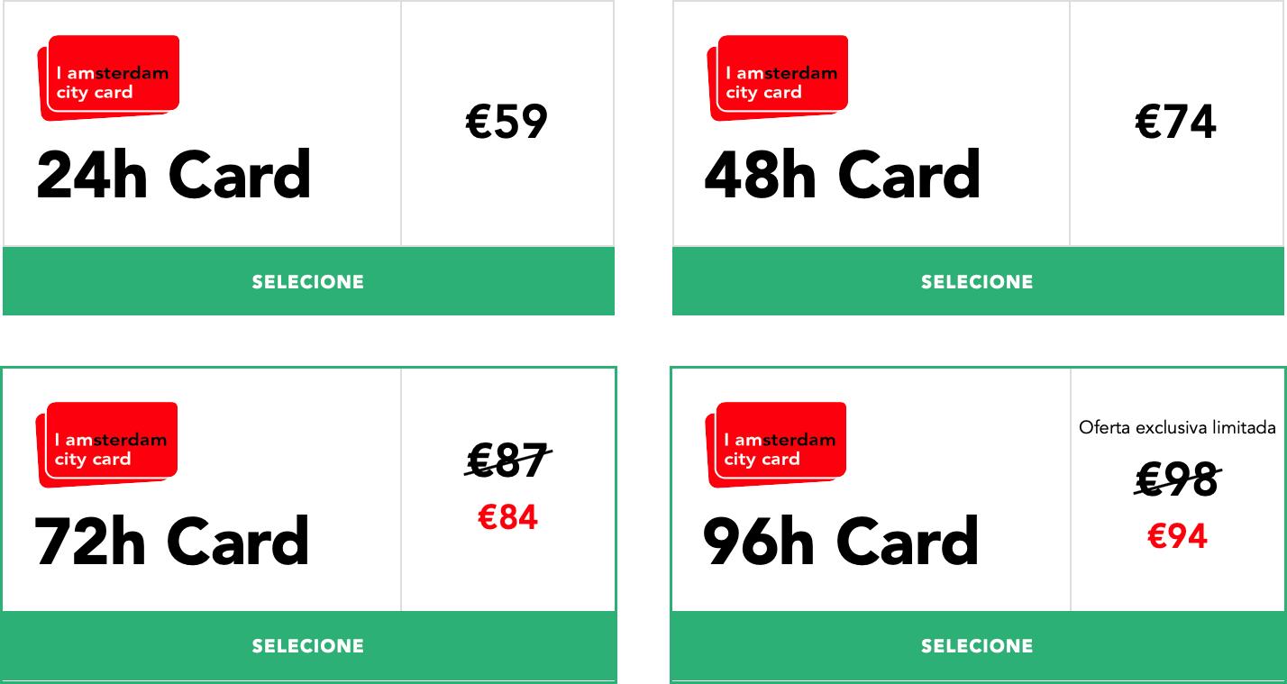 Preços do I amsterdam city card