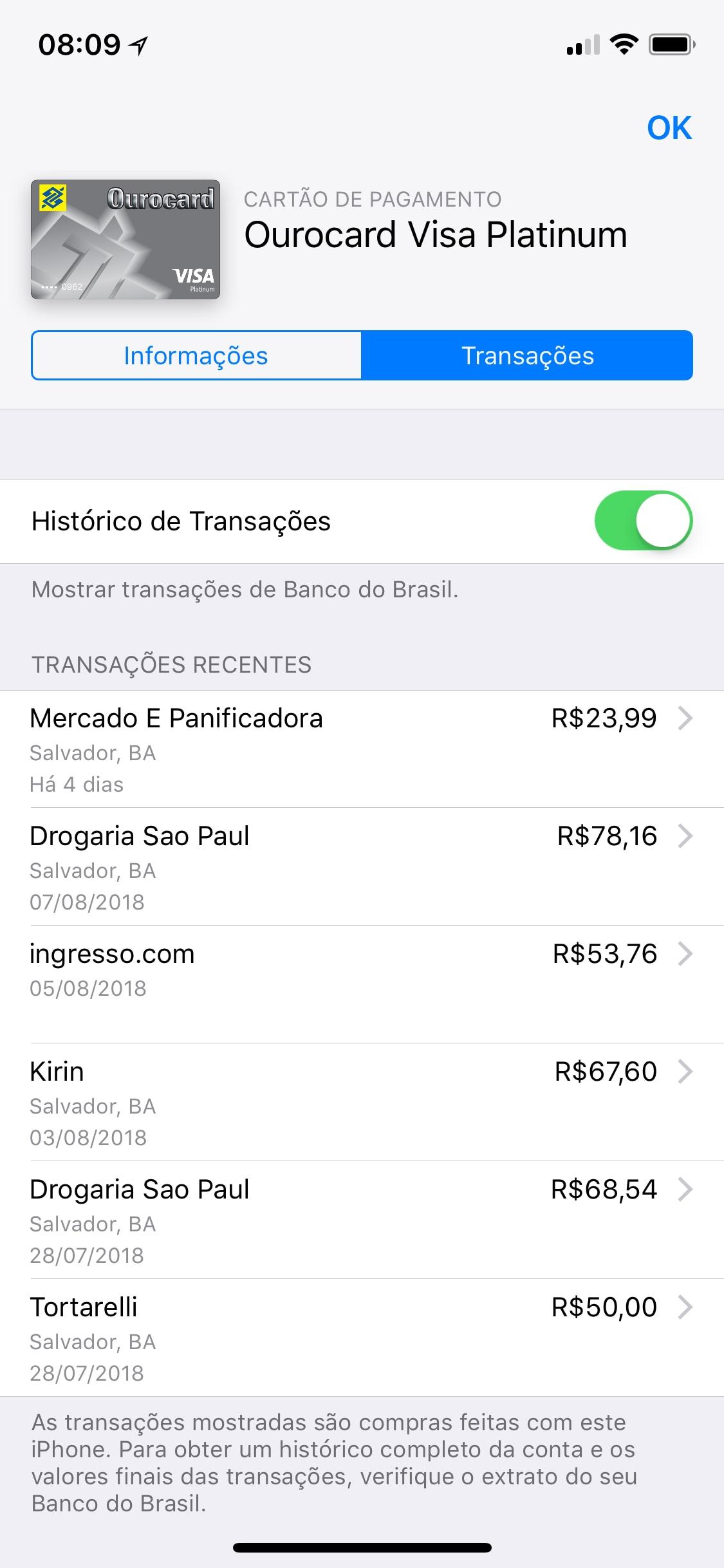 Transações recentes do Apple Pay no Wallet