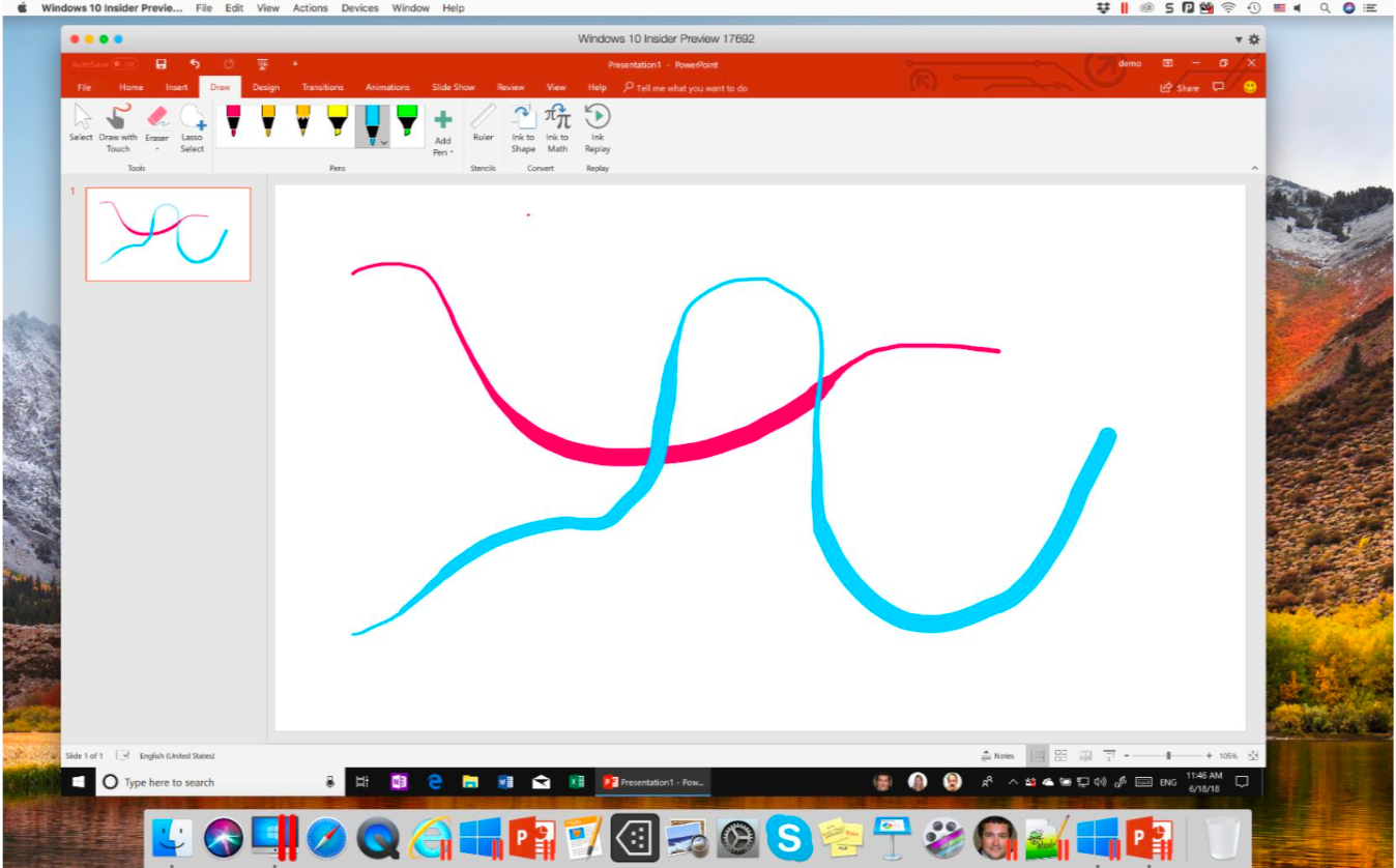Microsoft Ink no Parallels Desktop 14