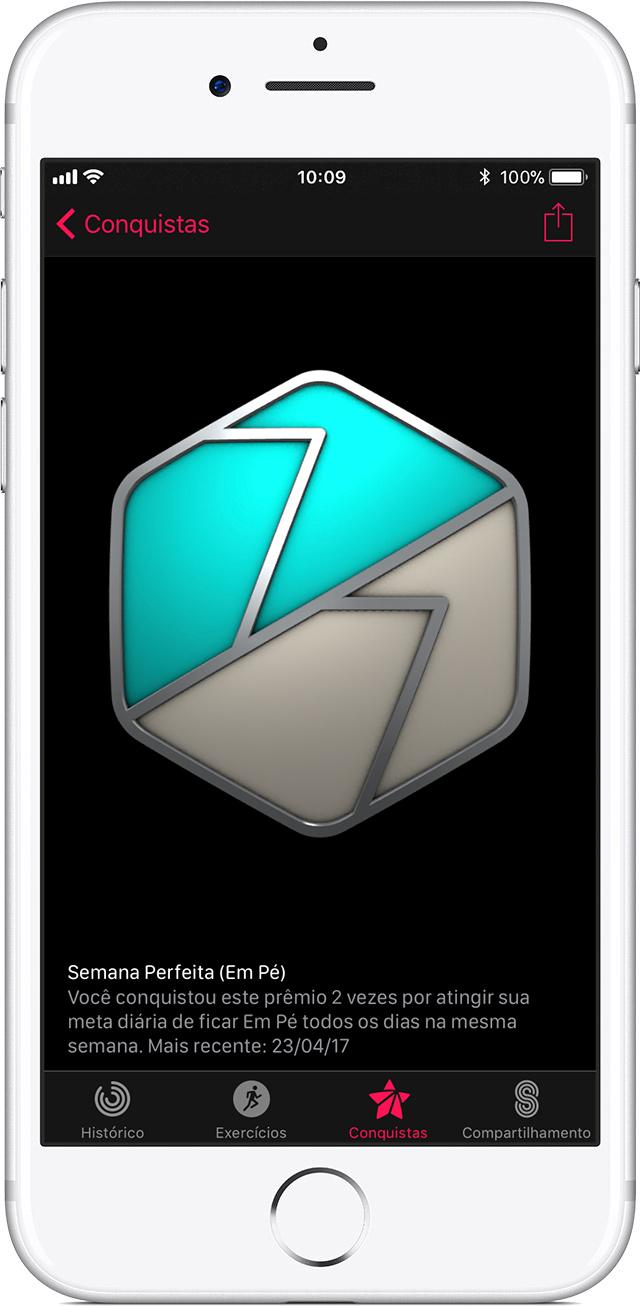 Conquistas no app Atividade, no iPhone