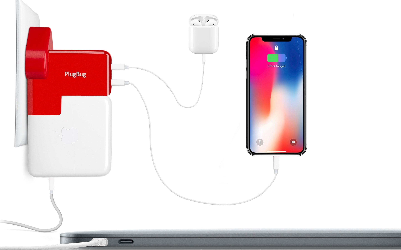 PlugBug Duo, iPhone, AirPod e MacBook