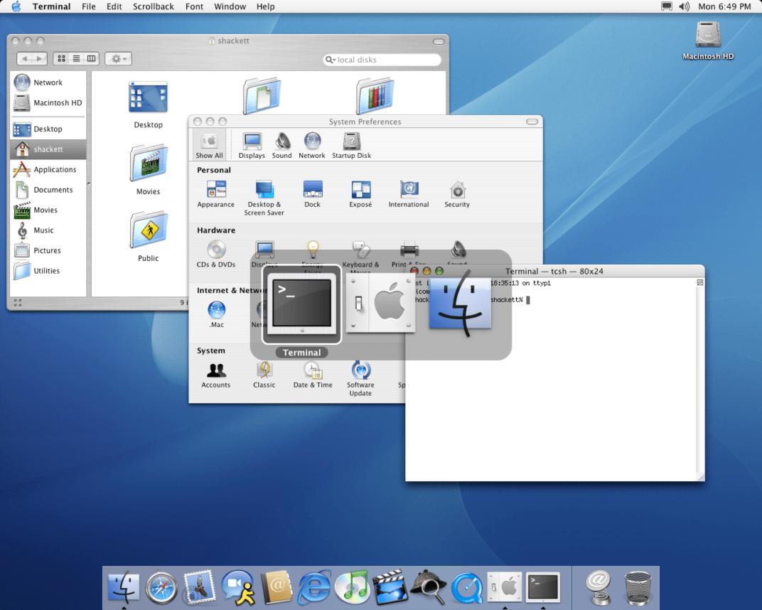 Alternando entre apps no Mac OS X Panther 10.3