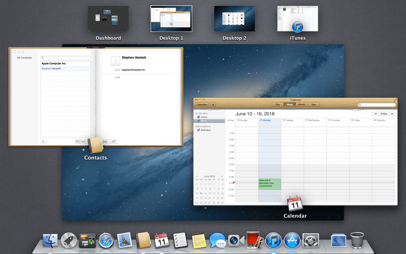 Visual do Mission Control no OS X Mountain Lion 10.8