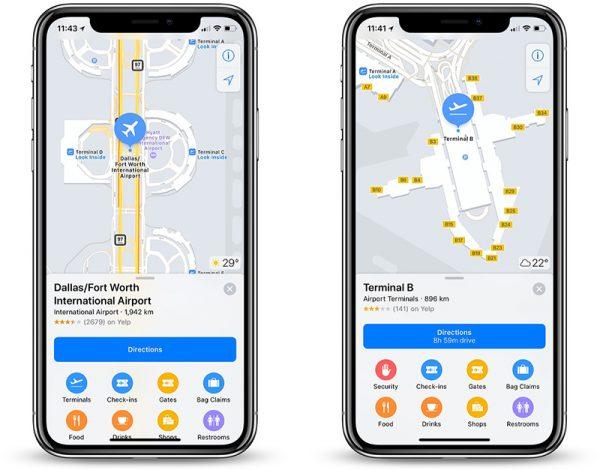 Mapas internos da Apple cobrindo o Aeroporto de Dallas-Fort Worth