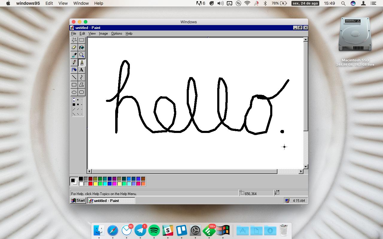App rodando Windows 95 dentro do Mac
