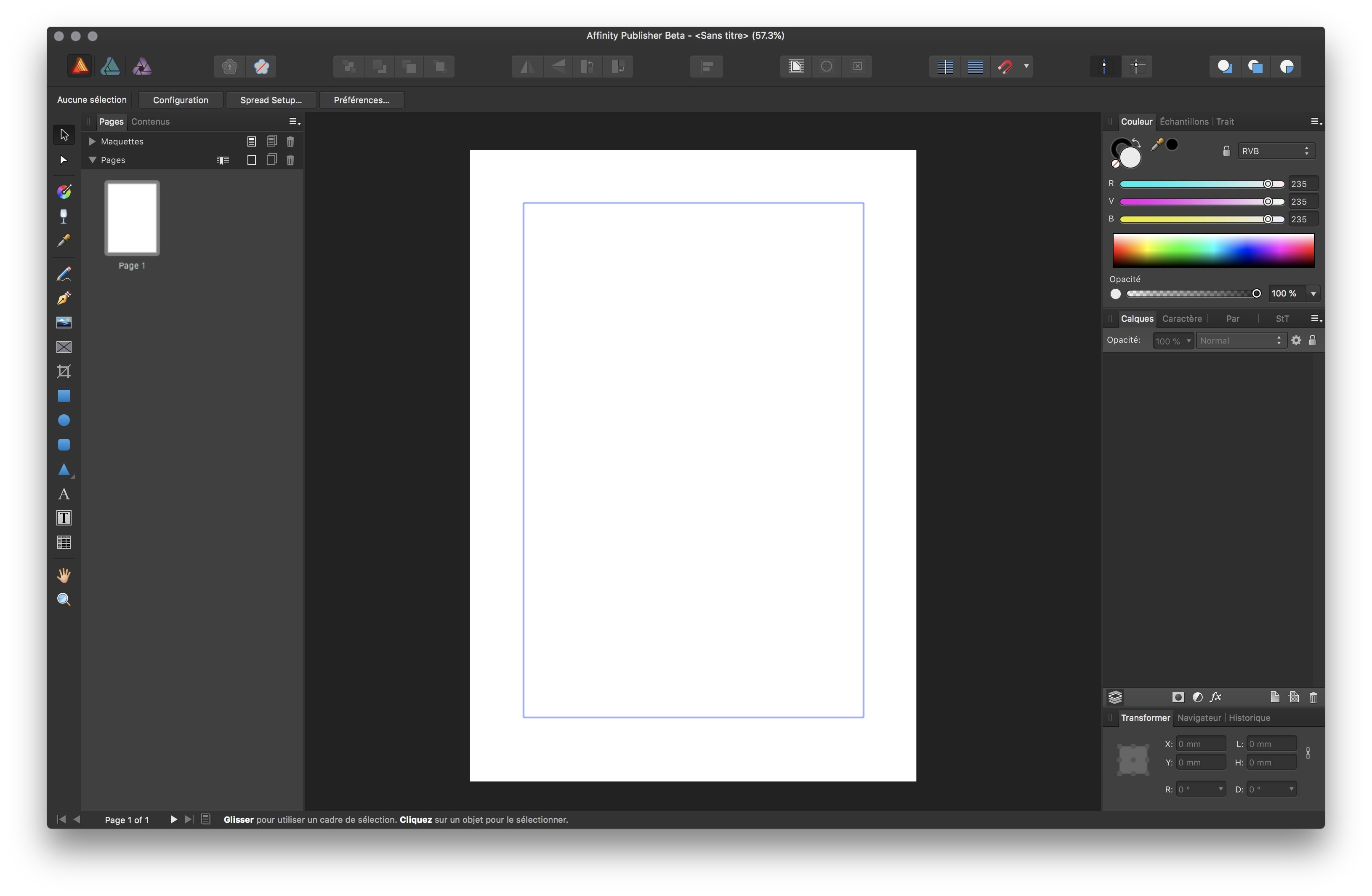 Screenshot do Affinity Publisher beta