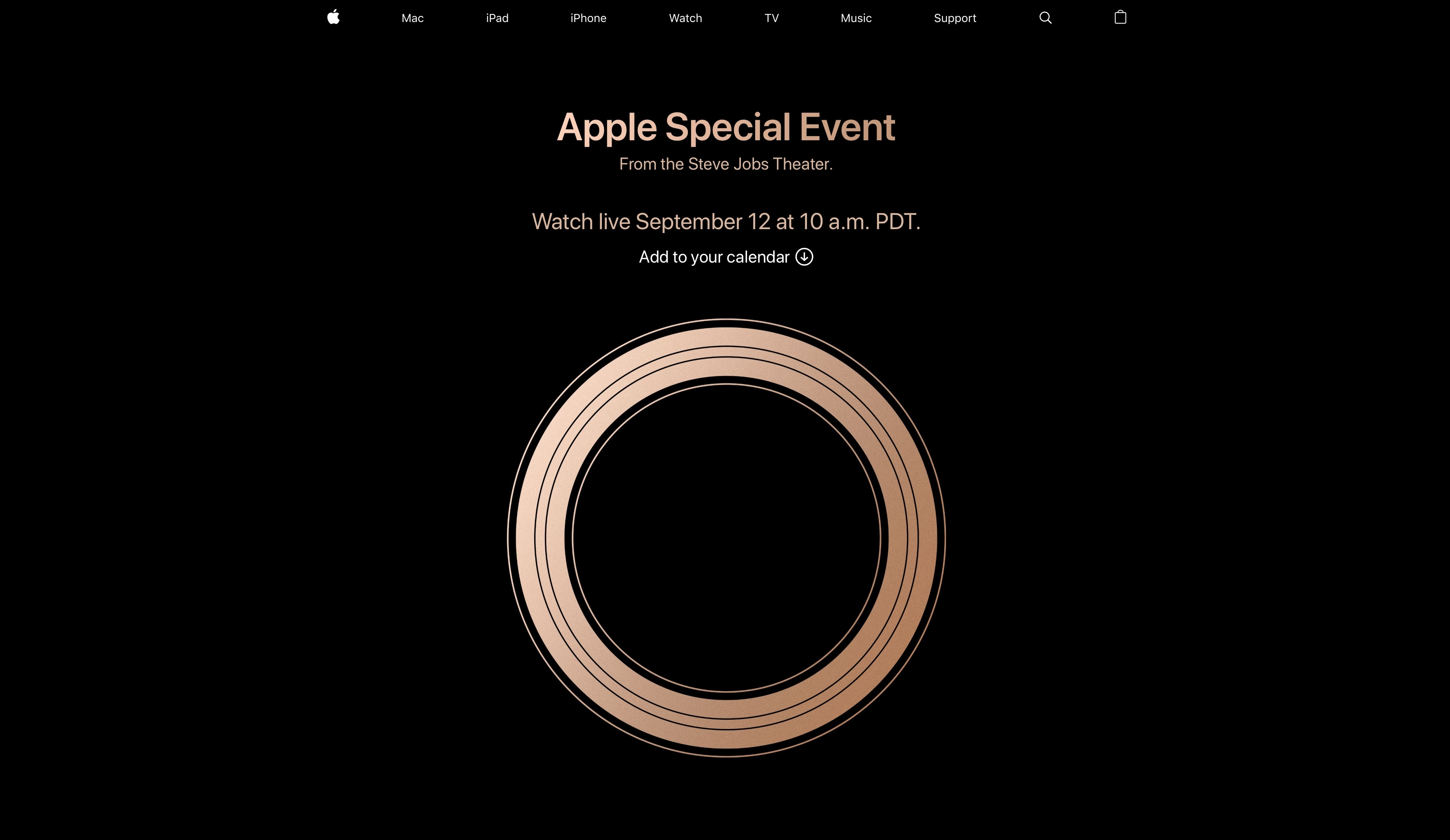 Página no Apple.com para a transmissão do evento especial da Apple (setembro de 2018)