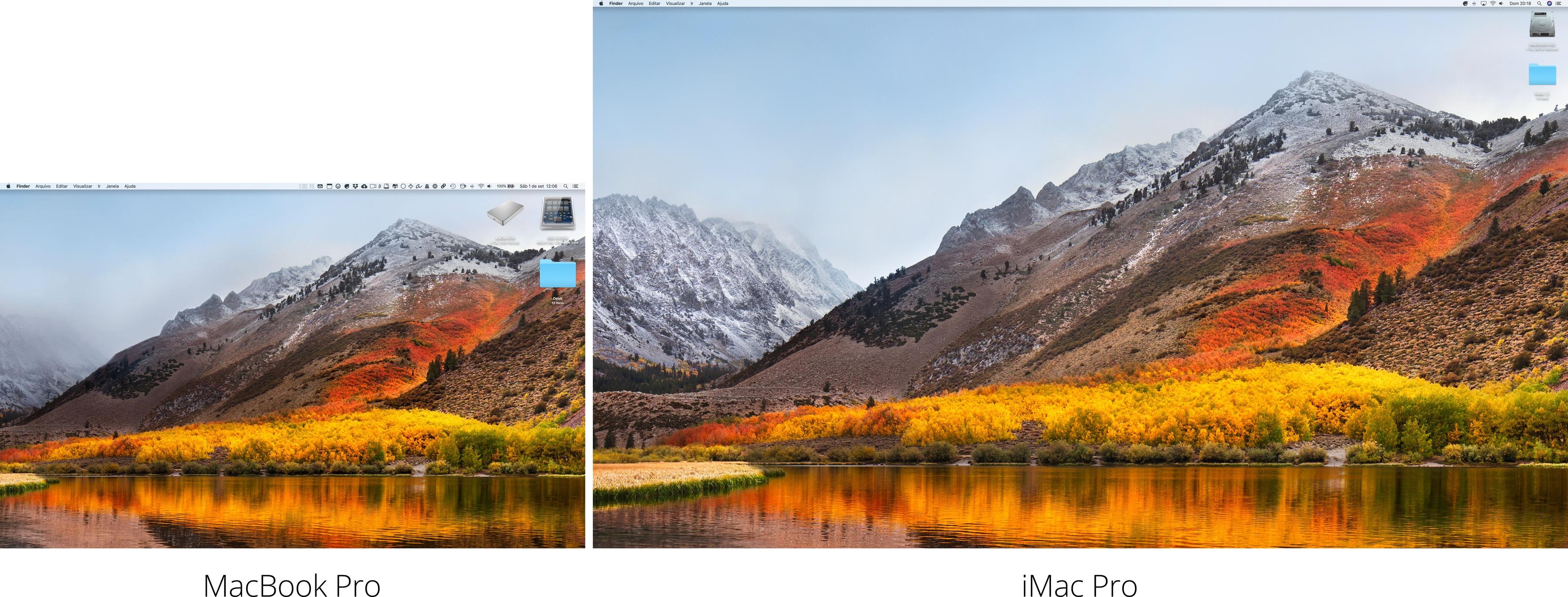 Comparando a tela do MacBook Pro com a do iMac Pro