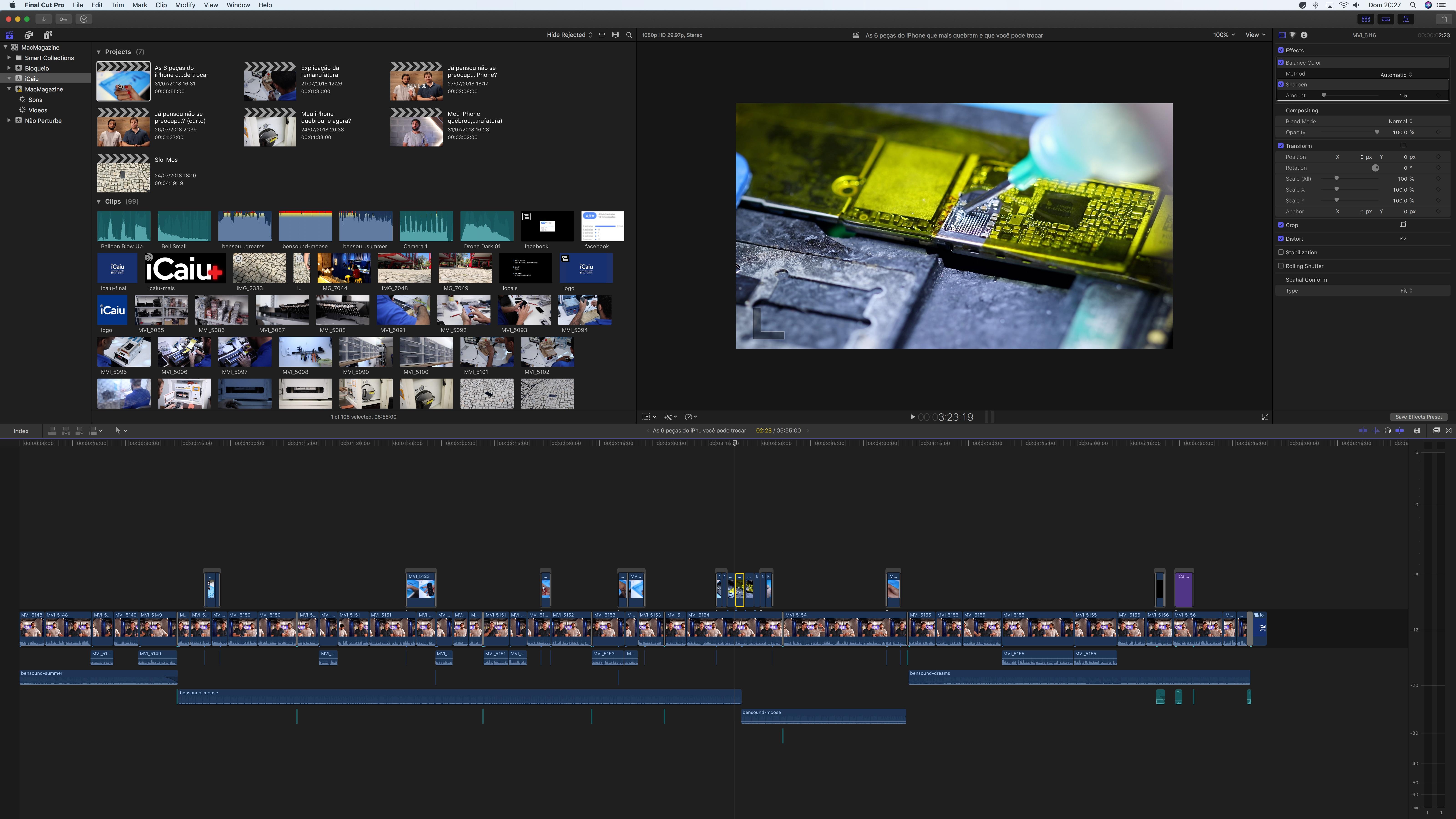 Final Cut Pro rodando no iMac Pro