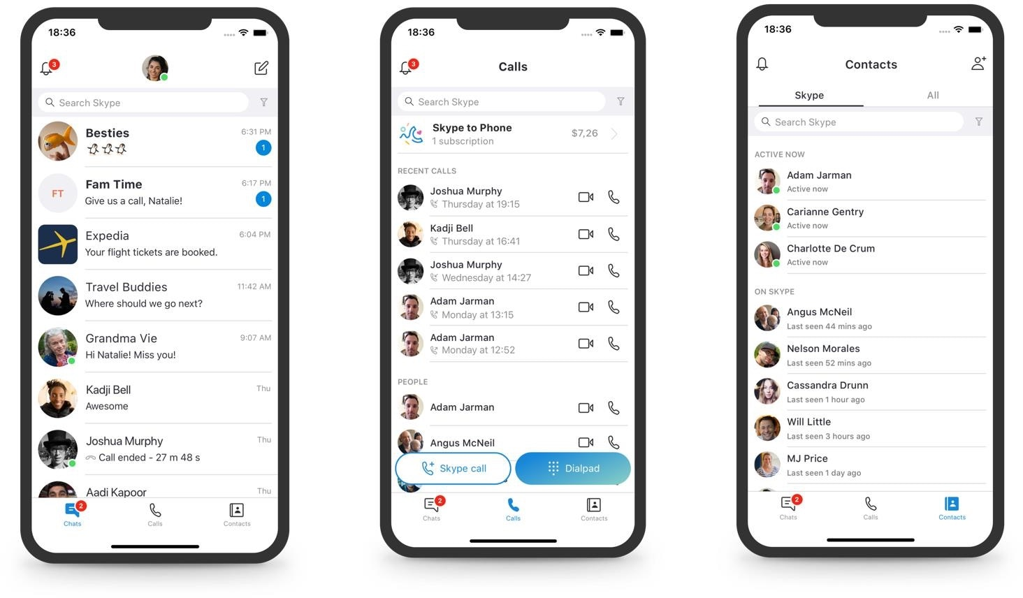 Mudança no design do Skype para iOS