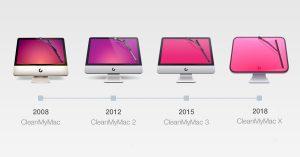 Evolução de ícones do CleanMyMac