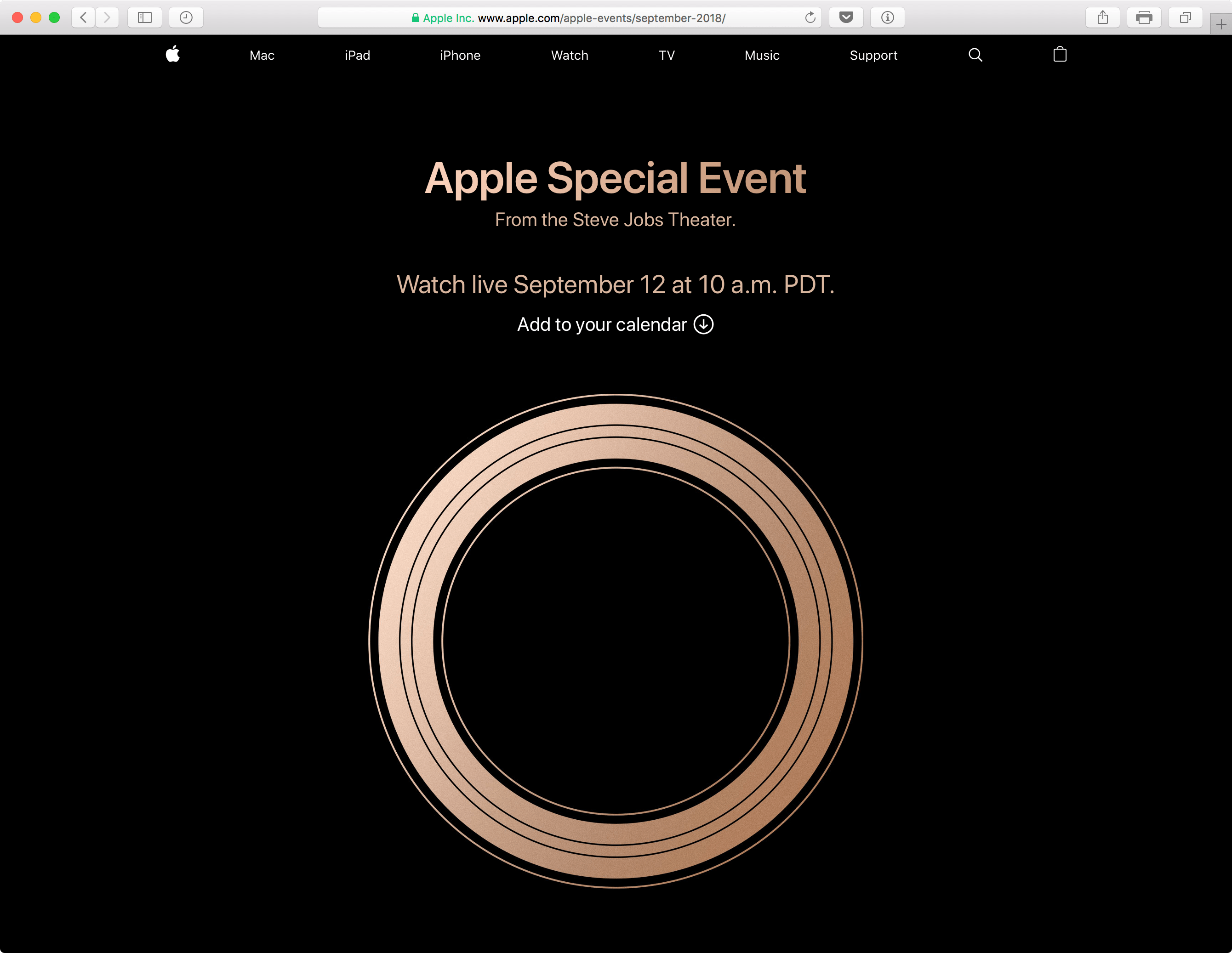 Transmissão da Apple do evento de 12/9