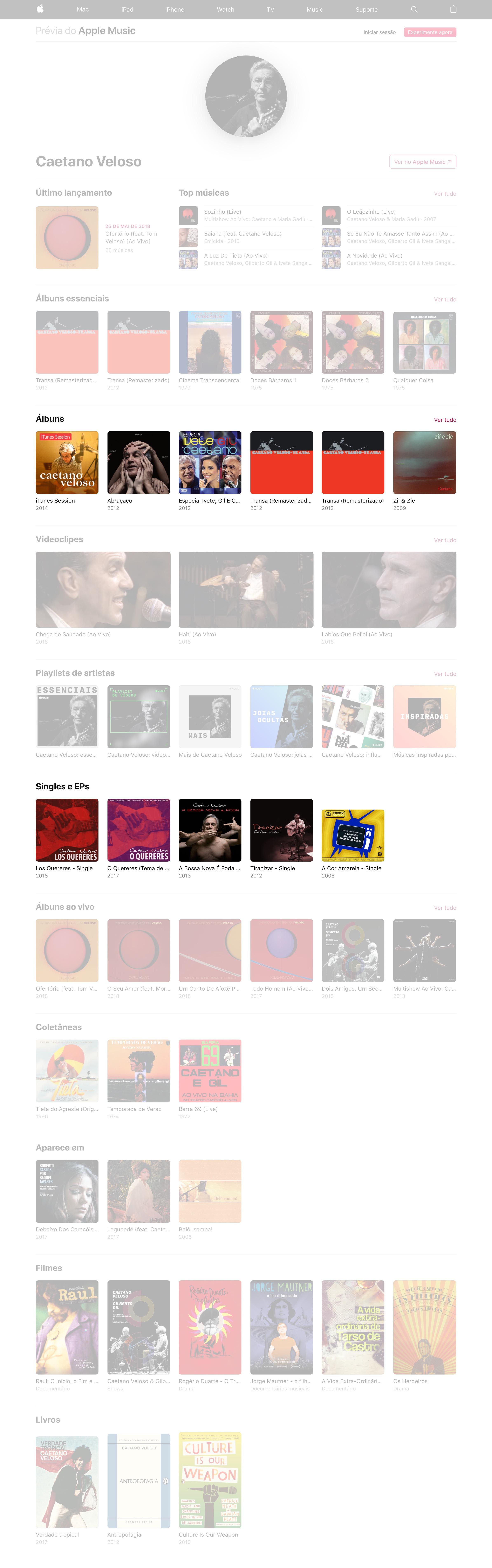 Página de Caetano Veloso no Apple Music