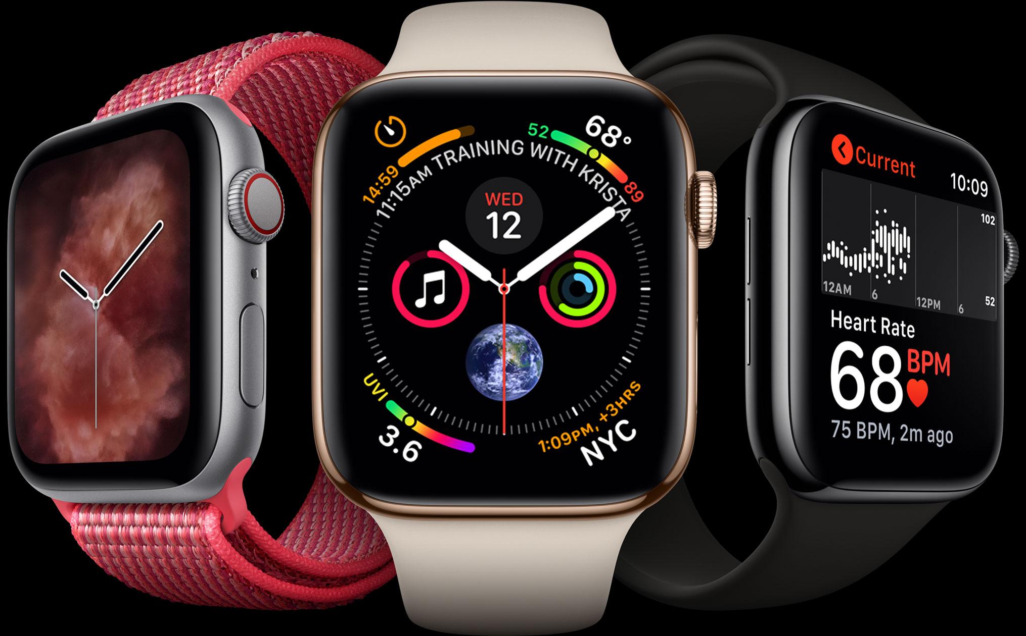 Apple Watch Series 4 com novidades em fundo preto