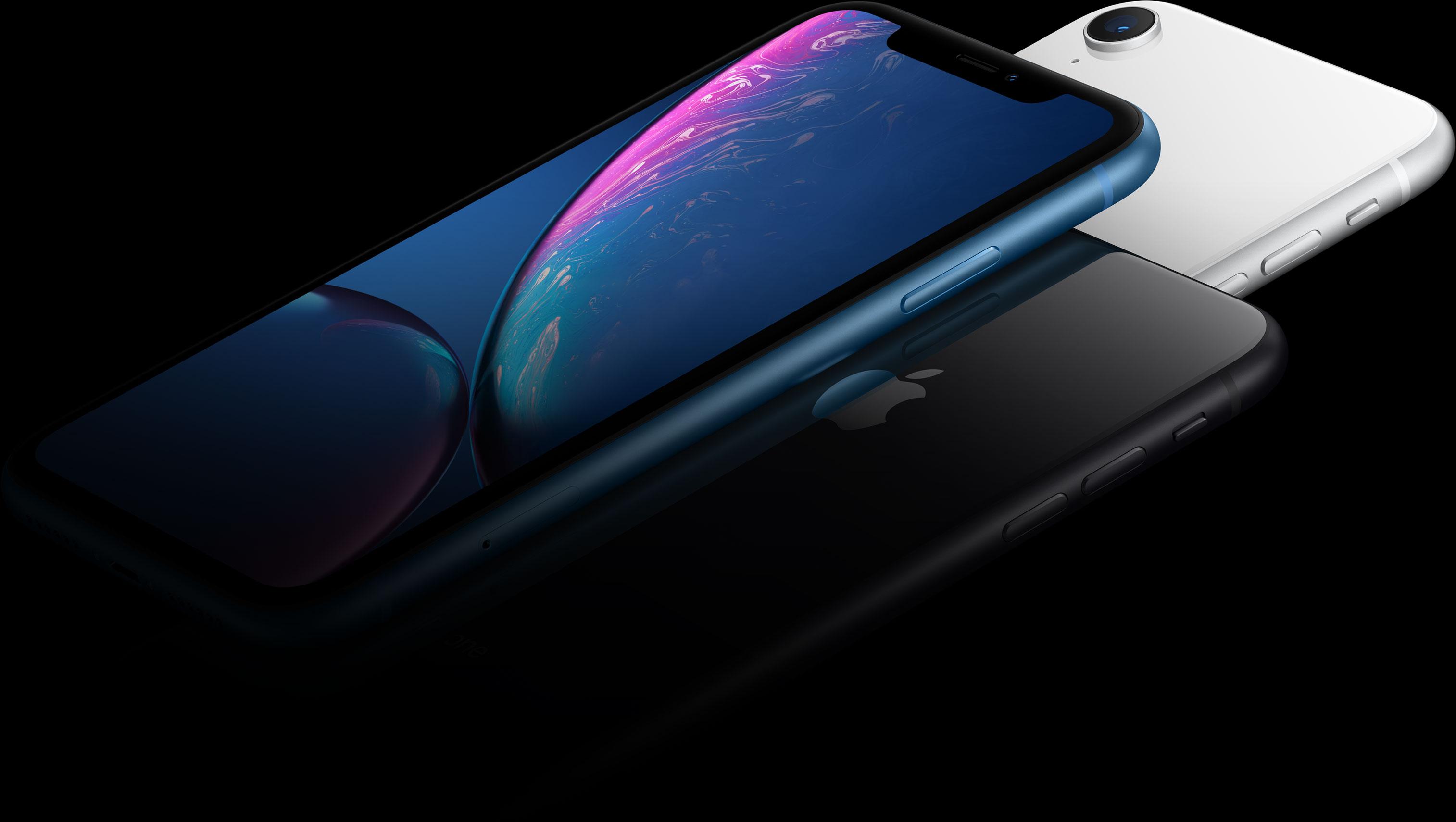 iPhone Xr em algumas cores sobre fundo preto