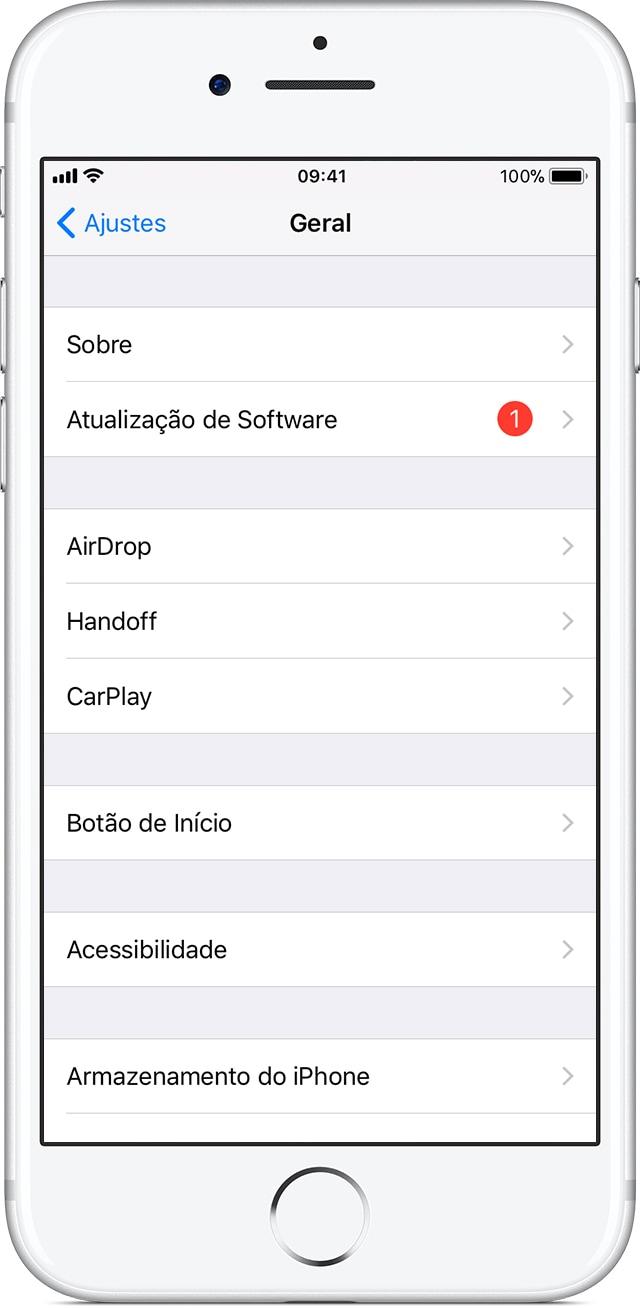 Atualização do iOS pelo dispositivo
