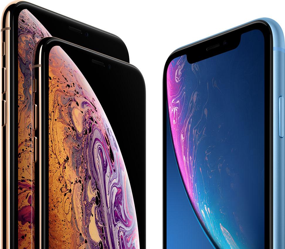 iPhone XS Max e XS de frente com iPhone XR azul
