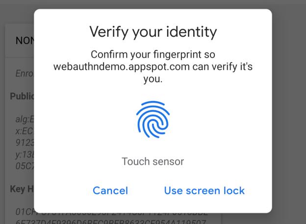 Autenticação biométrica no Chrome 70