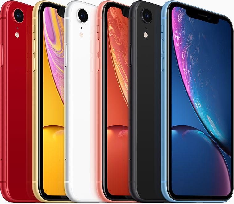 Família/cores do iPhone XR em fundo branco