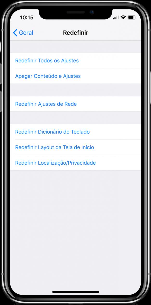 Apagando conteúdo e ajustes do iPhone