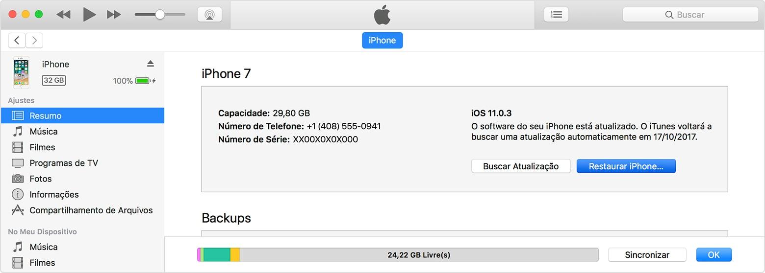 Restaurando o iPhone pelo iTunes