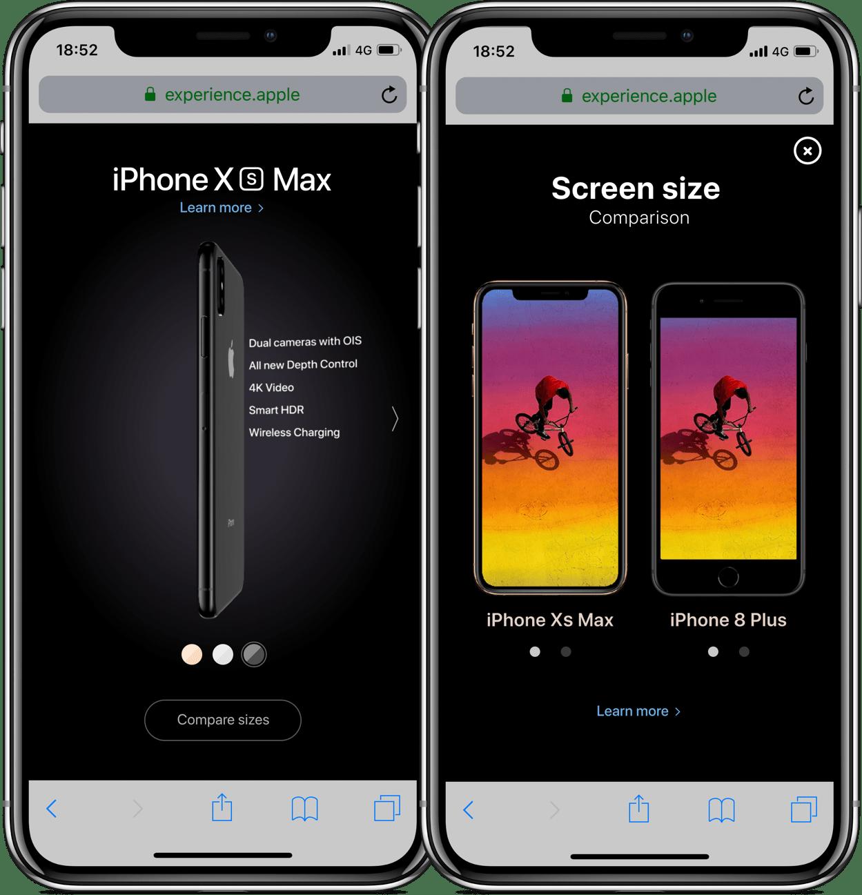 Microsite apresentando os novos iPhones XS e XS Max