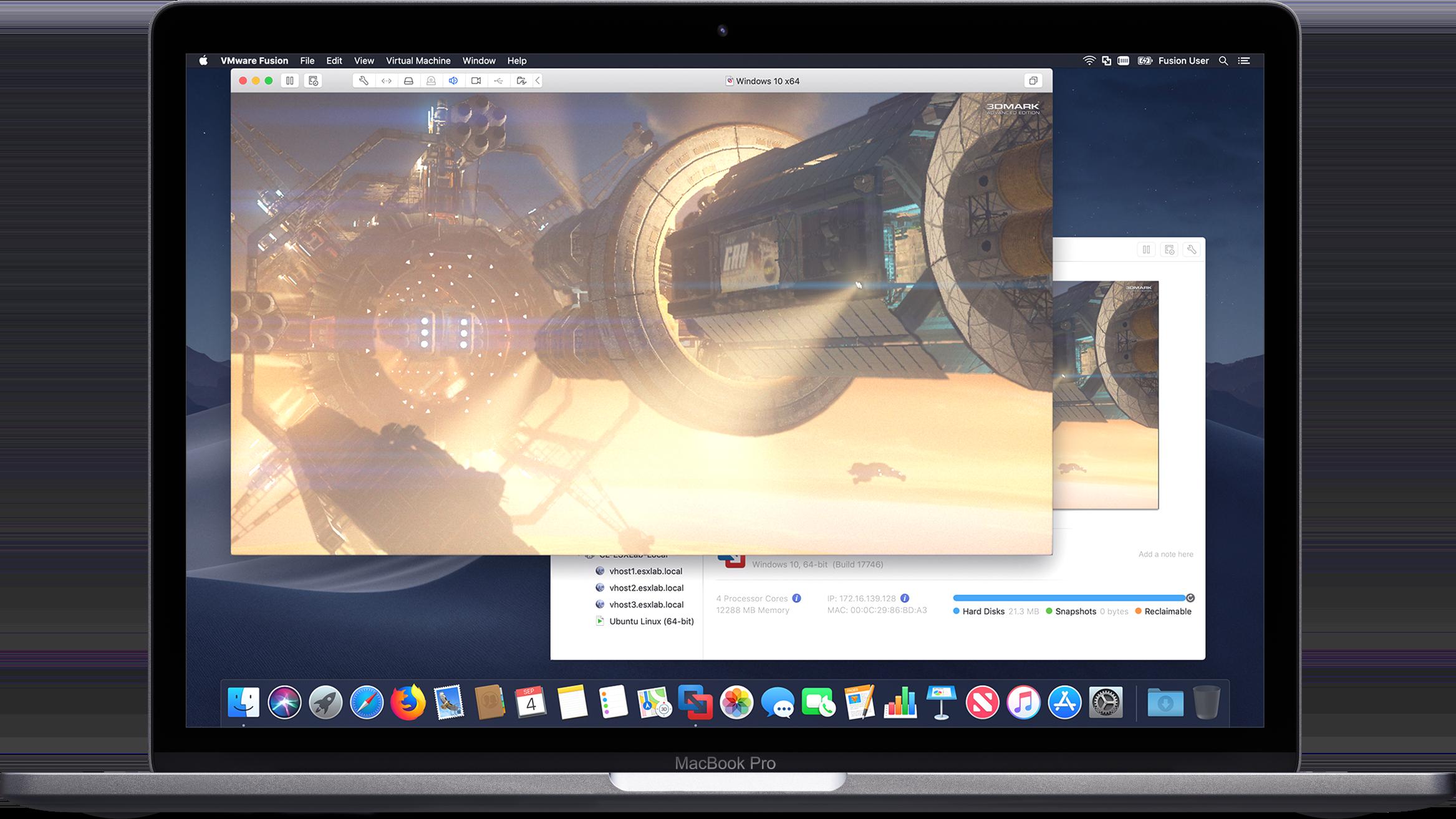 Gráficos do Fusion 11 no MacBook Pro
