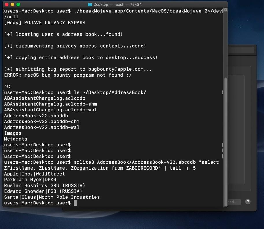 Vulnerabilidade no macOS Mojave que permite acesso a dados protegidos