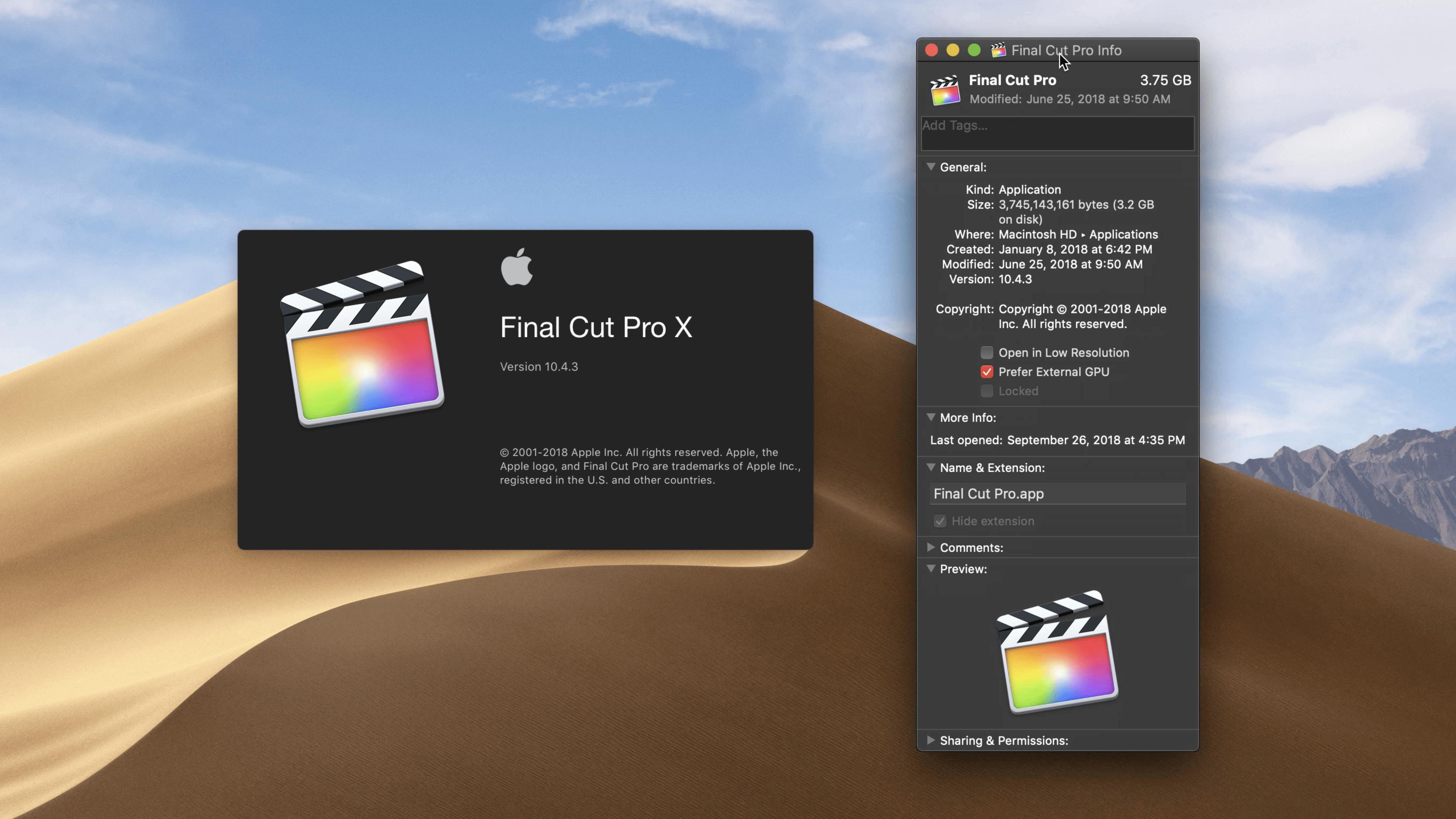 eGPU no Final Cut Pro - macOS Mojave