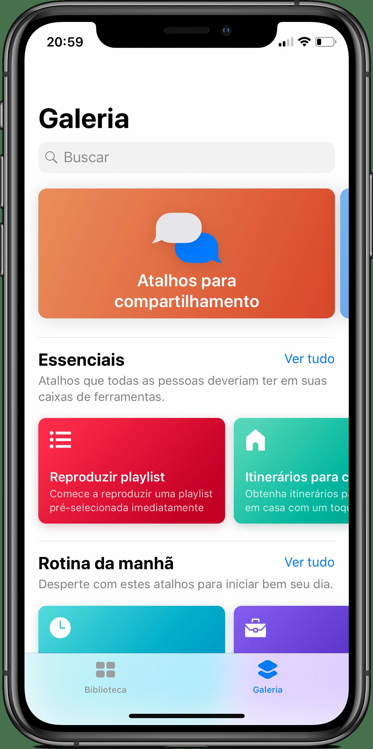 Galeria de atalhos do app Atalhos para o iOS 12