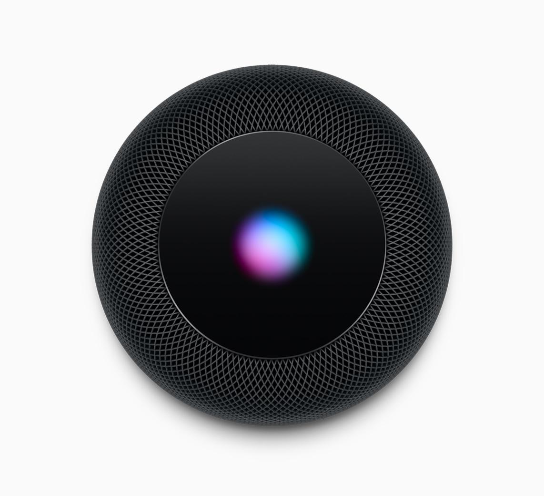 HomePod preto visto de cima com o símbolo da Siri