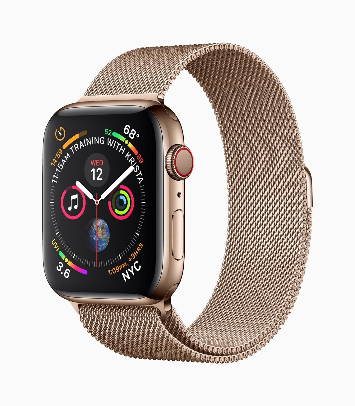 Apple Watch Series 4 de aço inoxidável dourado