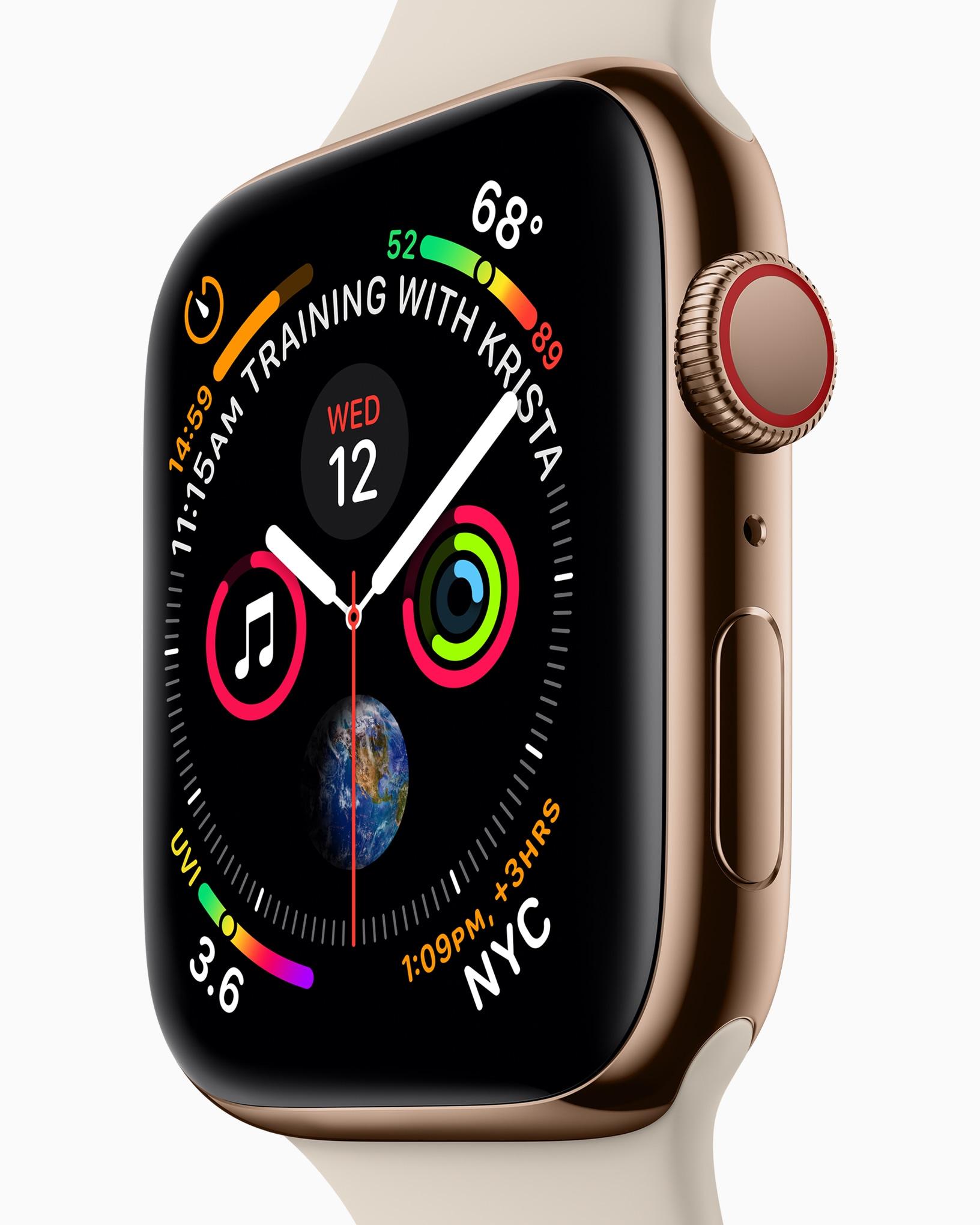 Apple Watch Series 4 com mostrador cheio de complicações de lado