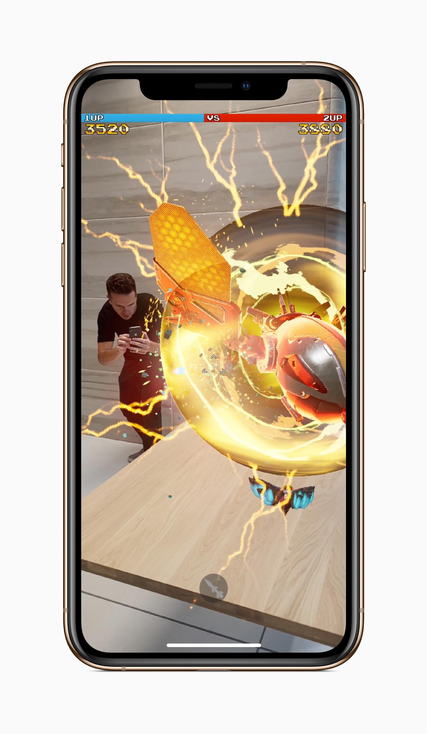 iPhone Xs com jogo de AR
