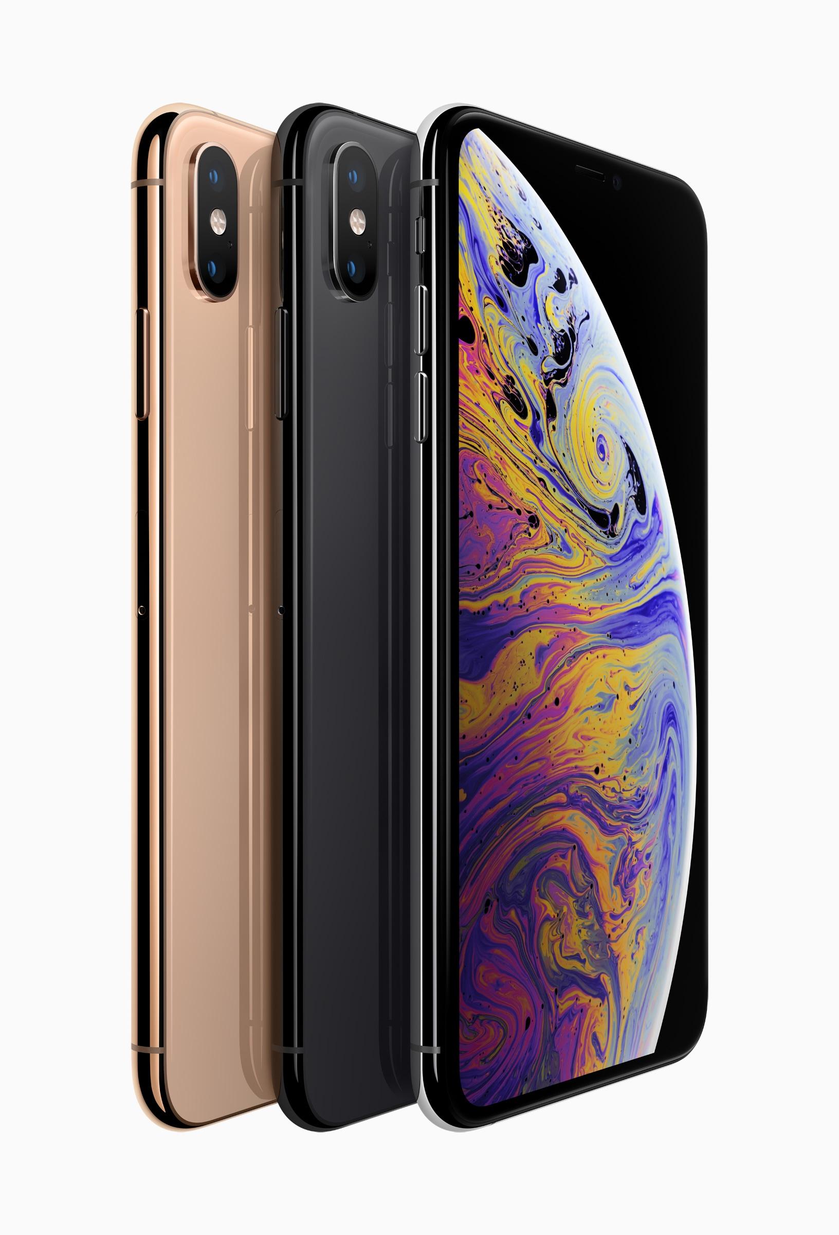 Linha de iPhone Xs com as três cores